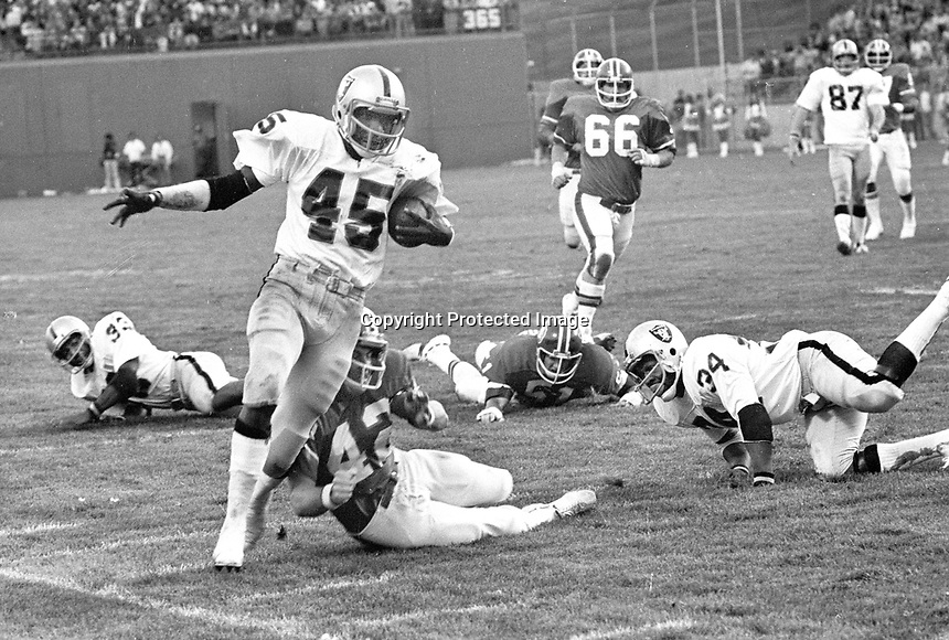 Oakland Raider Neal Colzie scores Touchdown agains the Denver Broncos 1975..(photo/Ron Riesterer)