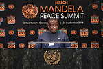 Opening Plenary Meeting of the Nelson Mandela Peace Summit<br /> <br /> His Excellency Julius Maada BIOPresident of the Republic of Sierra Leone