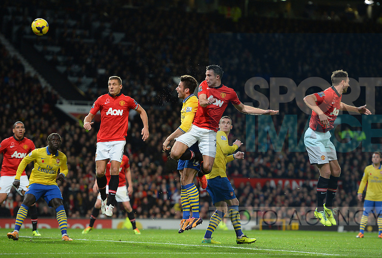 Robin van Persie of Manchester United scores the first goal - Barclays Premier League - Manchester Utd  vs Arsenal  - Old Trafford Stadium - Manchester - England - 10/11/13 - Picture Simon Bellis/Sportimage
