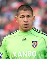 Real Salt Lake Goalkeeper Nick Rimando (18) in the Real Salt Lake 2-1 win over DC United, April 11, 2009 at Rio Tinto Stadium in Sandy, Utah.