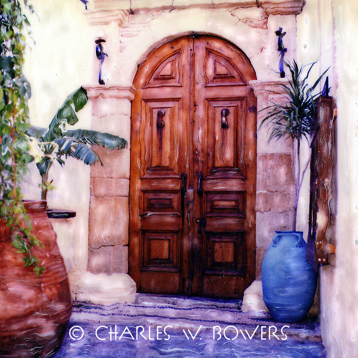 Grecian front door guarded by the two pot buddies. Sentinels at point.