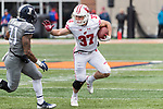 Wisconsin Badgers running back Garrett Groshek (37) carries the ball during an NCAA College Big Ten Conference football game against the Illinois Fighting Illini Saturday, October 28, 2017, in Champaign, Illinois. The Badgers won 24-10. (Photo by David Stluka)