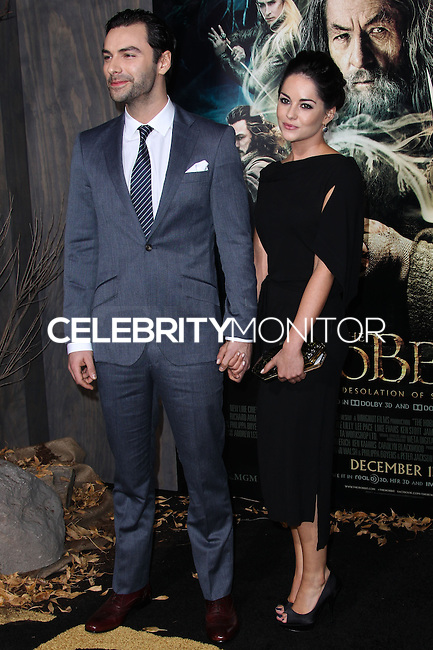 "HOLLYWOOD, CA - DECEMBER 02: Aiden Turner, Sarah Greene arriving at the Los Angeles Premiere Of Warner Bros' ""The Hobbit: The Desolation Of Smaug"" held at Dolby Theatre on December 2, 2013 in Hollywood, California. (Photo by Xavier Collin/Celebrity Monitor)"