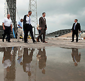 United States President Barack Obama tours the commercial rocket processing facility of Space Exploration Technologies, known as SpaceX, along with Elon Musk, SpaceX CEO at Cape Canaveral Air Force Station, Cape Canaveral, Florida on Thursday, April 15, 2010.  Obama also visited the NASA Kennedy Space Center to deliver remarks on the bold new course the administration is charting to maintain U.S. leadership in human space flight. .Mandatory Credit: Bill Ingalls - NASA via CNP