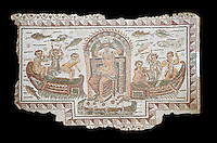 Late 4th century AD Roman mosaic panel of  Venus, Aphrodite, on a boat crowning herself accompanied by six dwarfs. From Cathage, Tunisia.  The Bardo Museum, Tunis, Tunisia. Black background