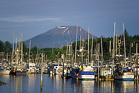 Mt. Edgecumbe, the coastal town of Sitka, Crescent harbor, Sitka, Alaska