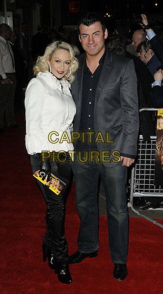 Kristina Rihanoff & Joe Calzaghe .The 'Wild Bill' UK film premiere, Cineworld Cinemas, Haymarket, London, England..March 20th, 2012.full length white jacket black shirt grey gray couple suit trousers gloves .CAP/CAN.©Can Nguyen/Capital Pictures.