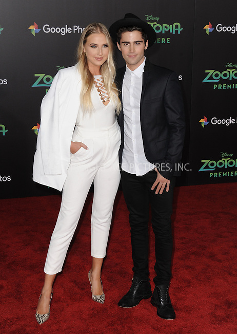 WWW.ACEPIXS.COM<br /> <br /> February 17 2016, LA<br /> <br /> Veronica Dunne and Max Ehrich attending the premiere of Walt Disney Animation Studios' 'Zootopia' at the El Capitan Theatre on February 17, 2016 in Hollywood, California. <br /> <br /> <br /> By Line: Peter West/ACE Pictures<br /> <br /> <br /> ACE Pictures, Inc.<br /> tel: 646 769 0430<br /> Email: info@acepixs.com<br /> www.acepixs.com