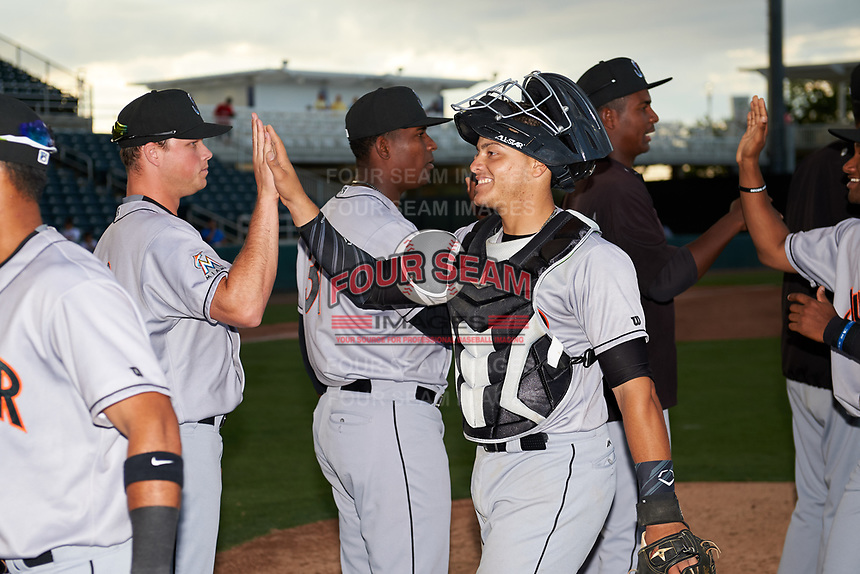Jupiter Hammerheads catcher Roy Morales (7) high fives with his teammates after a game against the Fort Myers Miracle on April 9, 2017 at CenturyLink Sports Complex in Fort Myers, Florida.  Jupiter defeated Fort Myers 3-2.  (Mike Janes/Four Seam Images)