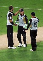 NZ's Daniel Vettori, Brendon McCullum and Nathan McCullum during 2nd Twenty20 cricket match match between New Zealand Black Caps and West Indies at Westpac Stadium, Wellington, New Zealand on Friday, 27 February 2009. Photo: Dave Lintott / lintottphoto.co.nz
