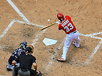 22 June 2014: Washington Nationals pinch hitter Greg Dobbs in action against the Atlanta Braves at Nationals Park in Washington, DC. The Nationals defeated the Braves 4-1 to split their 4-game series and take sole possession of first place in the NL East. Mandatory Credit: Ed Wolfstein Photo