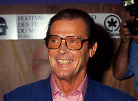 James  Bond actor Roger Moore at the World Film Festival, August 27, 1993.<br /> <br /> Moore just died in May 2017 ay 89<br /> <br /> PHOTO : Agence Quebec Presse