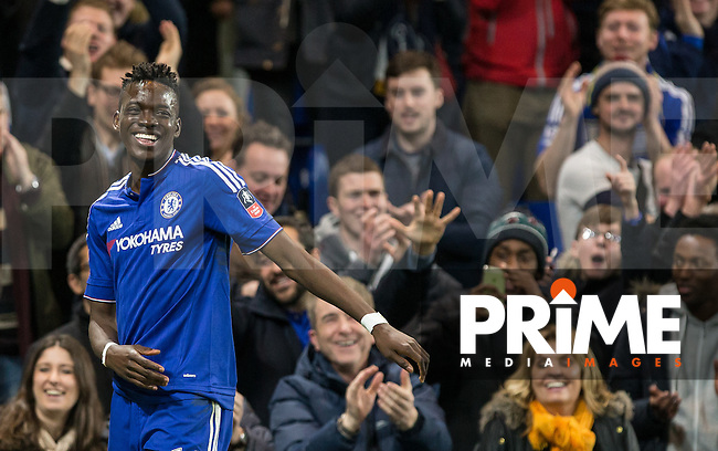 Bertrand Traore of Chelsea celebrates scoring his goal during the FA Cup 5th round match between Chelsea and Manchester City at Stamford Bridge, London, England on 21 February 2016. Photo by Andy Rowland.