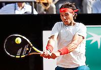 Lo spagnolo Rafael Nadal in azione durante gli Internazionali d'Italia di tennis a Roma, 18 Maggio 2013..Spain's Rafael Nadal in action during the Italian Open Tennis tournament ATP Master 1000 in Rome, 18 May 2013.UPDATE IMAGES PRESS/Isabella Bonotto