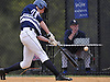 John LaRocca #31, St. Dominic centerfielder, connects for a two-run single to extend his team's lead over Holy Trinity to 3-0 in the bottom of the sixth inning of a CHSAA varsity baseball game at Charles Wang Athletic Complex in Muttontown on Friday, Apr. 22, 2016. St. Dominic went on to win by a score of 4-0.