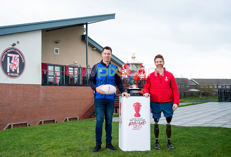 Picture by Allan McKenzie/SWpix.com - 18/12/2018 - Commercial - Rugby League - Rugby League World Cup 2021 Rhino partnership - Hatton Solicitors Crusader Park, Thatto Heath, England - paul Sculthorpe with James Simpson and the Rugby League World Cup trophy outside the Thatto Heath Crusdaers facility.