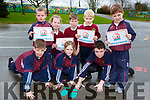 Scartaglen NS pupils who ran a marathon at the school front row l-r: Alan tangney, Clodagh Buckley, Jack O'Connor. Back row: Tadhg O'Connor, Molly Mahony, Dylan Herlihy, Noah Doyle and Frank Salmon