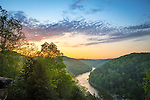 Cumberland Falls State Park, Kentucky:<br /> Sunrise over Cumberland river winding through Appalachian hills