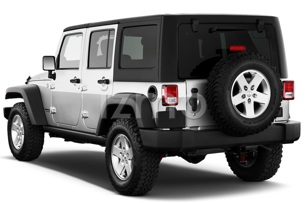 Rear three quarter view of a 2012 Jeep Wrangler Unlimited Rubicon