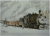 Print of Ron Jans Painting copywrite 78.  #318 with two gondolas.<br /> D&amp;RGW  Ouray, CO  Taken by Jans, Ron