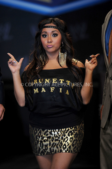 WWW.ACEPIXS.COM . . . . . .March 30, 2011...New York City...Snooki attends the WWE  Wreslemania XXVII Press Conference at the Hard Rock Cafe on  March 30, 2011 in New York City....Please byline: KRISTIN CALLAHAN - ACEPIXS.COM.. . . . . . ..Ace Pictures, Inc: ..tel: (212) 243 8787 or (646) 769 0430..e-mail: info@acepixs.com..web: http://www.acepixs.com .
