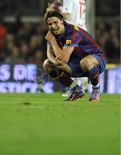 24 03 2010  Zlatan Ibrahimovic hurts his shoulder in a challenge for the ball.  Barcelone versus Osasuna in La Liga match played in Nou Camp, Barcelona.