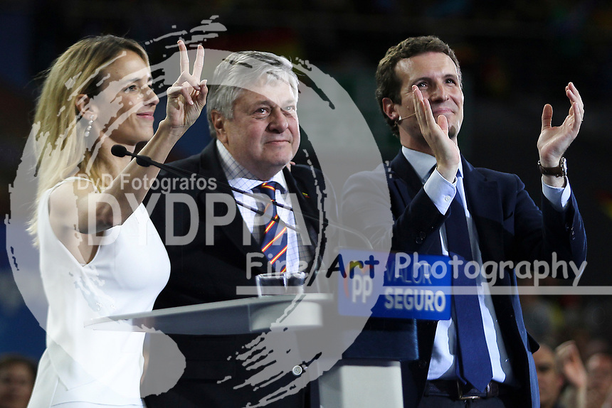 The closing of the campaign of the PP (Partido Popular) party, on Sunday the 28th are the general elections, at WiZink Center in Madrid on April 26, 2019.<br /> Cayetana Alvarez de Toledo, Leopoldo Lopez, father of the Venezuelan opponent and President of PP, Pablo Casado