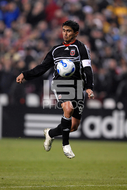 DC United forward Jaime Moreno (99) leaps into the air to chest the ball. The Kansas City Wizards defeated DC United 4-2, in the home opening game for DC United at RFK Stadium, April 14, 2007.