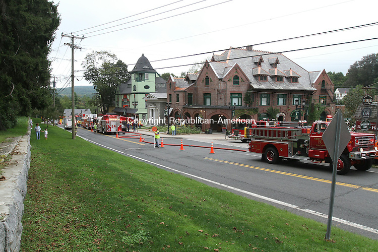 NORFOLK, CT - 8 September, 2011 - 090811MO09 - Firefighters ventilated smoke but didn't open hoses inside Infinity Music Hall Thursday. Billows of smoke in the stage area were traced to a mechanical malfunction in the ventilation system. Jim Moore Republican-American.