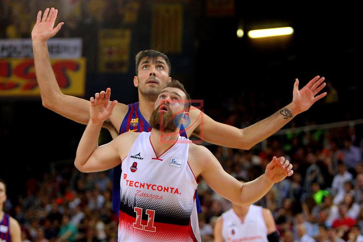 League ACB-ENDESA 201/2019.Game 38.<br /> PlayOff Semifinals.1st match.<br /> FC Barcelona Lassa vs Tecnyconta Zaragoza: 101-59.<br /> Pierre Oriola vs Nemanja Radovic.
