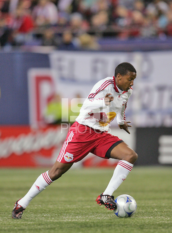 New York Red Bulls' Danleigh Borman moves the ball against the Columbus Crew during the second half of an MLS soccer match at Giants Stadium in East Rutherford, N.J. on Saturday, April 5, 2008.