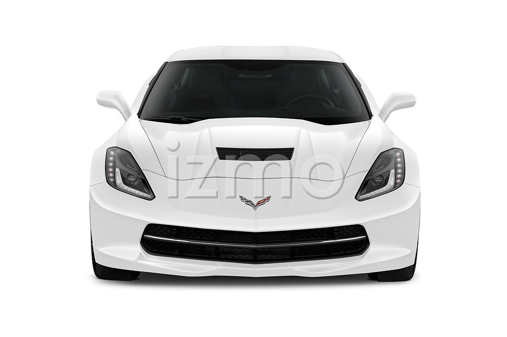 Car photography straight front view of a 2019 Chevrolet Corvette-Stingray 3LT 2 Door Coupe Front View
