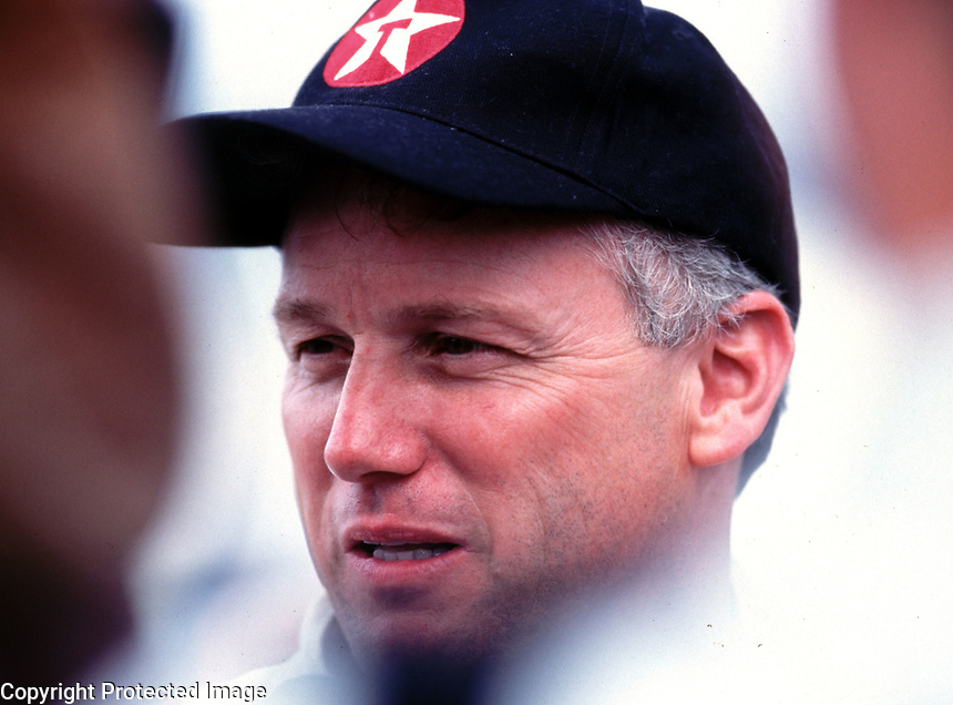 Ricky Rudd talks to the media at Daytona International Speedway in February 2000. (Photo by Brian Cleary)
