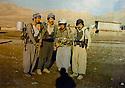 Iraq 1980 .In Qara Dagh, from left to right, Hama Rash, Wouria Sheikh Rashid and 2 peshmergas from Kirkuk region  .Irak 1980 .Dans le Qara Dagh, de gauche a droite, Hama Rash, Wouria Sheikh Rashid et 2 peshmergas de la region de Kirkouk