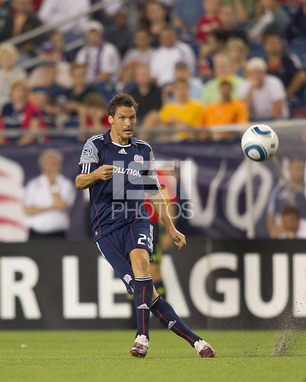 New England Revolution midfielder Marko Perovic (29) passes the ball. The New England Revolution defeated LA Galaxy, 2-0, at Gillette Stadium on July 10, 2010.