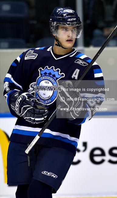 QMJHL (LHJMQ) hockey player profile photo on Chicoutimi Sagueneens Joel Champagne October 4, 2008 at the Colisee Pepsi in Quebec city.