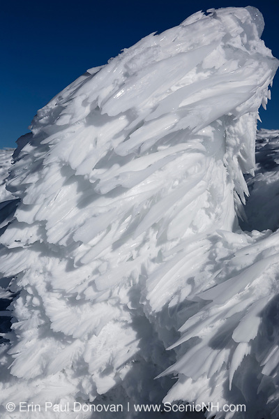 Rime ice on the summit of Mount Washington in the White Mountains, New Hampshire during the winter months. Mount Washington, at 6,288 feet, is the tallest mountain in the northeastern United States. And the Appalachian Trail travels over the summit of this mountain.