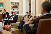 United States President Barack Obama meets with Gregory Jaczko, Chairman of the U.S. Nuclear Regulatory Commission; John Brennan, Assistant to the President for Homeland Security and Counterterrorism; and Rob Nabors, Assistant to the President for Legislative Affairs, in the Oval Office, March 16, 2011. .Mandatory Credit: Pete Souza - White House via CNP