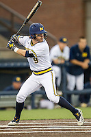 Michigan Wolverines shortstop Michael Brdar (9) at bat against the Oakland Golden Grizzlies on May 17, 2016 at Ray Fisher Stadium in Ann Arbor, Michigan. Oakland defeated Michigan 6-5 in 10 innings. (Andrew Woolley/Four Seam Images)