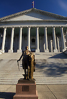 AJ2636, Columbia, State Capitol, State House, South Carolina, Replica of Houdon's Statue of George Washington in front of The State House Building in the capital city of Columbia in the state of South Carolina.