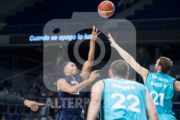 Movistar Estudiantes Alex Brown and Donar Groningen Brandyn Curry during Basketball Champions League match between Movistar Estudiantes and Donar Groningen at Wizink Center in Madrid, Spain October 02, 2017. (ALTERPHOTOS/Borja B.Hojas)