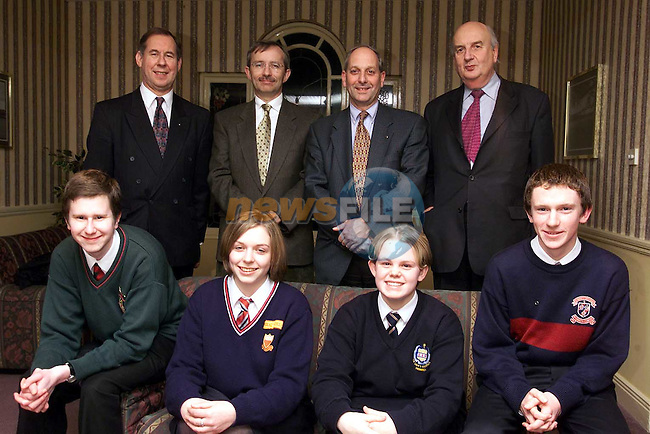 Back Row L/R, Lorcan Murphy, ACC Bank (club sponsers), Kevin Byrne, rotary vice president, Richard Schmidt, vocational services chairman and Michael McNamara, Drogheda rotart club. Front Row L/R, Kenneth Griffen, Drogheda Grammer school, Celine Weldon, Sacred heart, Emma Curran, Greenhills and Tim Higgins, St. Mary's.Picture: Paul Mohan/Newsfile