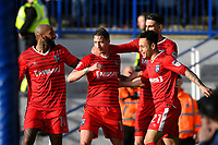 Lee Martin of Gillingham middle is congratulated on scoring the third Gillingham  goal during Portsmouth vs Gillingham, Sky Bet EFL League 1 Football at Fratton Park on 10th March 2018