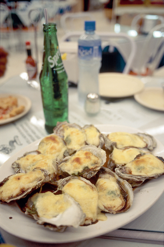 Cheese filled oysters in a mexico city market in Colonia del Valle. 6-11-04
