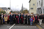 Apostolic Nuncio Archbishop Giuseppe Leanza, Bishop Bill Murphy of Kerry and mayor of Killarney patrick O'Donoghue lead a group of walkers down Monsignor Hugh O'Flaherty Road in Killarney on Sunday after the road naming ceremony in honour of the pries known as The Scarlet Pimpernel. Mons O'Flaherty helped save over 6,000 jews and pow's during world war 2 while resident in The Vatican. The monsignor was awarded a posthumous International Humanitarian Award The freedom of Killarney in a weekend of event.<br /> Picture by Don MacMonagle