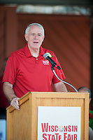 Milwaukee mayor, Tom Barrett, addresses the opening ceremonies at the 2015 Wisconsin State Fair on Thursday, August 6, 2015 in West Allis, Wisconsin