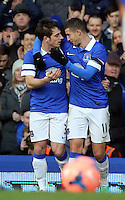 Pictured L-R: Leighton Baines of Everton celebrates his penalty goal with team mate Kevin Mirallas. Sunday 16 February 2014<br />