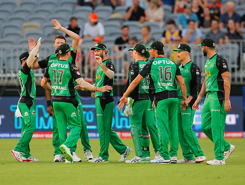 3rd February 2019, Optus Stadium, Perth, Australia; Australian Big Bash Cricket League, Perth Scorchers versus Melbourne Stars; Stars players celebrate the wicket of Josh Inglis of the Perth Scorchers