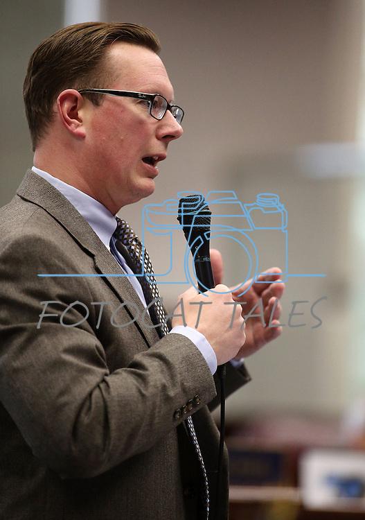 Nevada Sen. Ben Kieckhefer, R-Reno, speaks on the Senate floor at the Legislative Building in Carson City, Nev., on Tuesday, April 7, 2015. <br /> Photo by Cathleen Allison