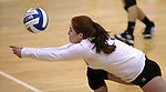 Marymount's Cassidie Watson gets a dig during a college volleyball match against  PSU Harrisburg at Marymount University in Arlington, Vir., on Wednesday, Oct. 9, 2013.<br /> Photo by Cathleen Allison